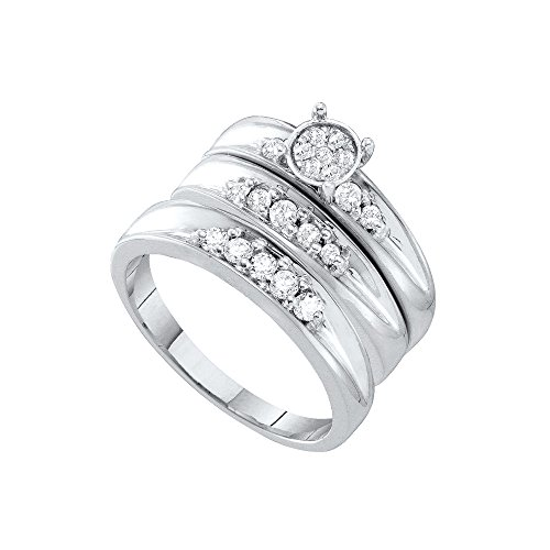 10kt White Gold His & Hers Round Diamond Cluster Matching Bridal Wedding Ring Band Set 3/8 Cttw by JawaFashion
