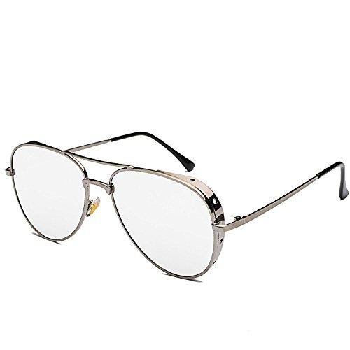 Delgado aviador Marco con DESESHENME de borde sol espejo para mujeres negras Retro hombres plateado Borde Unisex de blanco gafas oval de lentes plata lentes de color nawaqYEgt