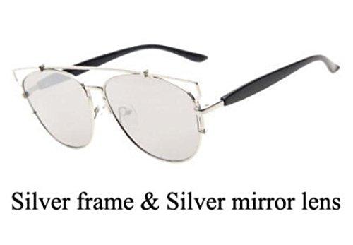 AOFLY With Case Technologic Sunglasses women Original brand design metal frame eyewear men fashion sunglass Gafas oculos de sol (silver frame & silver mirrored ()