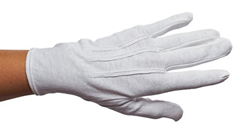 Ringmaster White Cotton Gloves with Snap Closure, White, - Scottsdale Fashion