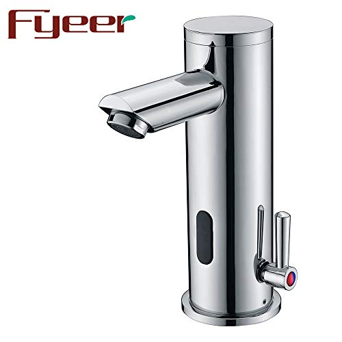Fyeer Automatic Electronic Sensor Touchless Faucet, Motion Activated Hands-Free Bathroom Vessel Sink Tap, Single Handle Easy Installation, Lead Free Certified, Hot and Cold Mixer, Chrome ()