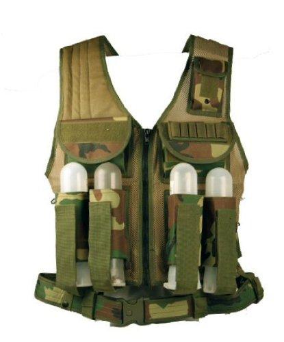 Ultimate Arms Gear Tactical Scenario Woodland Camo Paintball Airsoft Battle Gear Tank-Armor Pod Vest