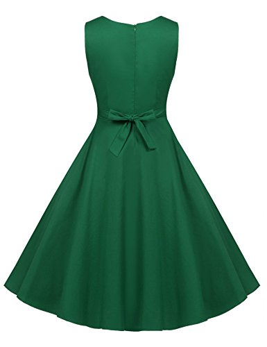 Vestidos Falda Fiesta Años de Impresión 50 Vestido Verde Mangas Sin Mujer Vintage Floral Acevog qXwv7v