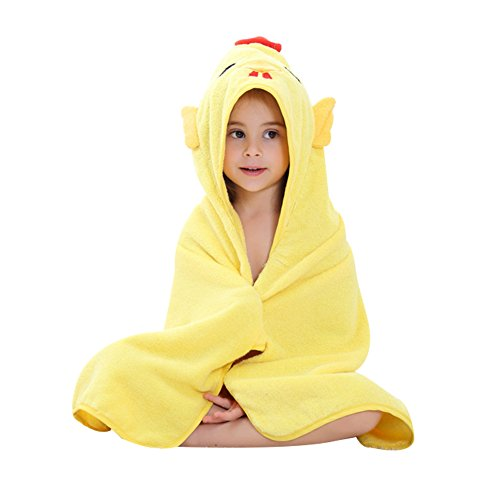 Baby Boys Girls 0-6 Years Hooded Bathrobe Super Cute Animal Towel Nightwear (Yellow Chick)