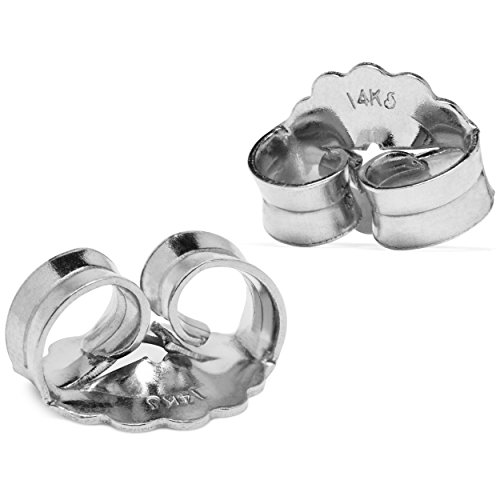 Two Earring Back Replacements |14K Solid White Gold | Threaded Push on-Screw off |Quality Die Struck | Post Size .0375