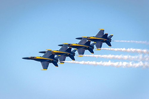 US Navy Blue Angels Performing at an Air Show Photo Art Print Poster 36x24 inch