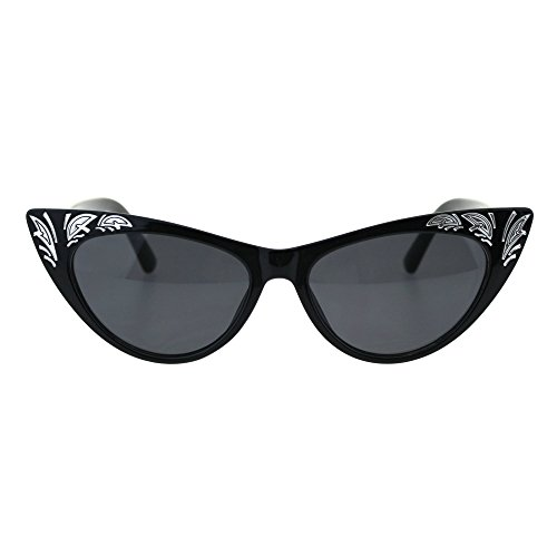 (Womens Cat Eye Gothic Bling Engraving Diva Sunglasses All Black)