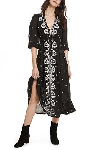 災害ウェーハ慣らすフリーピープル トップス ワンピース Free People Embroidered Maxi Dress Black [並行輸入品]