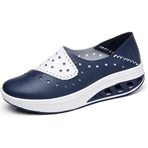 GilesJones Wedge Loafers Shoes Women,Casual Moccasins Hollow Sneakers Slip-On Ballet Flats Shoes