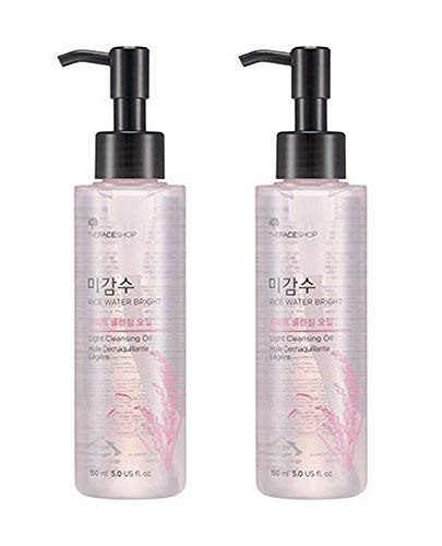 [THEFACESHOP] Facial Cleanser, Natural Rice Water Light Cleansing Oil Moisturizer for Dry or Oily Skin - 150 mL / 5 Oz (2 Count) (Oil Cleansing Method For Dry Acne Prone Skin)