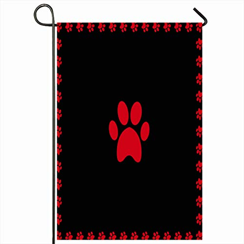 (Ahawoso Outdoor Garden Flag 12x18 Inches Track Dog Bear Red Pawprint Framed Paw Black Stamp Border Cat Cute Foot Footprint Graphic Design Frame Seasonal Double Sides House Yard Sign )
