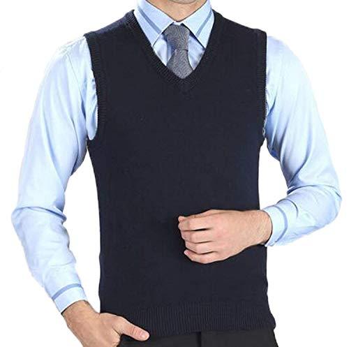 Laine Débardeur Chandail Veste Élégant Slim Solid Hommes V Tricot De Col Fit Bleu Stricktop Couleur Marine rYF4wBqY7