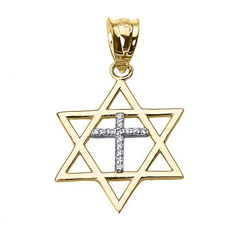 High Polish 14k Yellow Gold Jewish Charm Star Diamond Cross of David Pendant