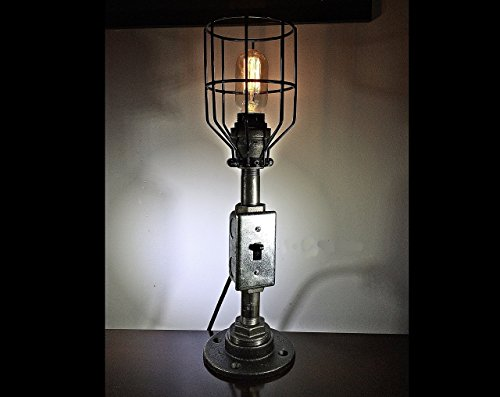 p with toggle switch, cage guard, vintage, Edison, industrial, modern, metal, rustic, steampunk, table lamp, desk lamp. ()