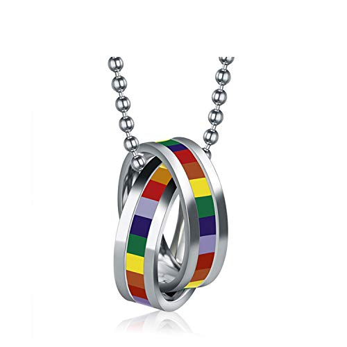 Fashion Rainbow Necklaces & Pendants Stainless Steel Rainbow Gay Pride Jewelry Platinum Plated