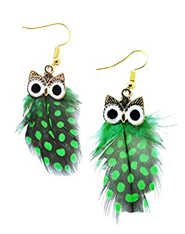 Gold Colored Metal Natural Feather Cute Owl Dangle Drop Boho Jewelry Earrings Set for Girls Women - Colored Feather Earrings