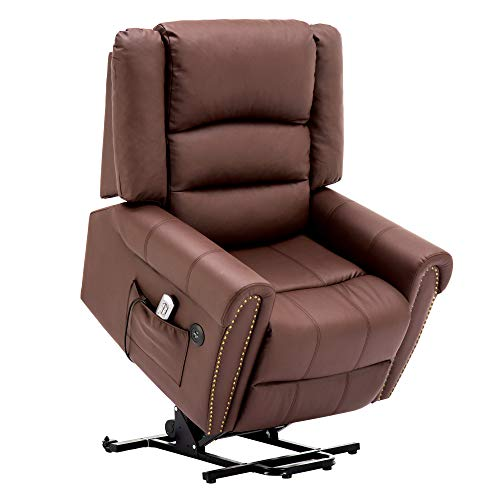 Electric Power Lift Recliner Chair Dual TUV Motor Infinite Position Lay Flat Sleeper PU Leather Lounge with Remote Control Dual USB Charging Ports 7298 (Light Brown)