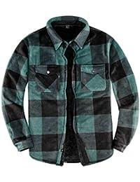 Men's Warm Sherpa Lined Fleece Plaid Flannel Shirt Jacket(All Sherpa Fleece Lined)