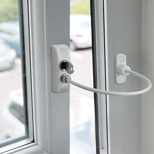 Neoteck 2Pcs UPVC Window Restrictor Locks Window Door Cable Restrictor Lock Child Baby Safety Security Wire Catch for Home and Commercial Applications-White