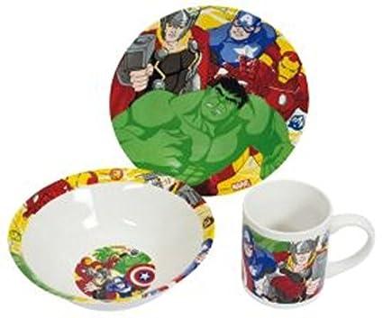 Piatti In Ceramica Per Bambini.Boyztoys Marvel Avengers Per Bambini 3 Pezzi Set Da Servizio In Ceramica Composto Da Piatto Ciotola E Tazza