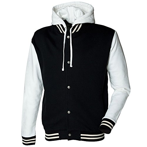Jacket Heavy Off Fit Weight Mens Detachable White With Black Hood Long Skinni Baseball Sleeve q7f0w0I