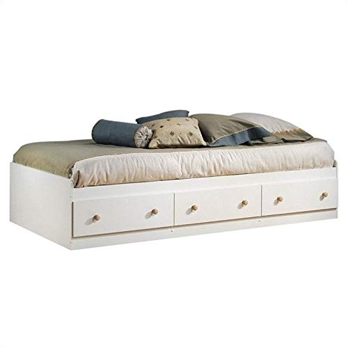 (South Shore Summertime Mates Bed with 3 Drawers, Twin 39-inch, Pure White)