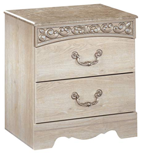 Ashley Furniture Signature Design - Catalina Nightstand - 2 Drawers - Traditional - Replicated Chestnut Grain - Antique White (White Bedroom Furniture Sets Oak)