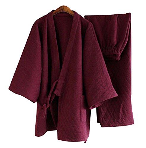 Tracksuit Bathrobe Breathable Cotton Pajamas Suit Men's K...