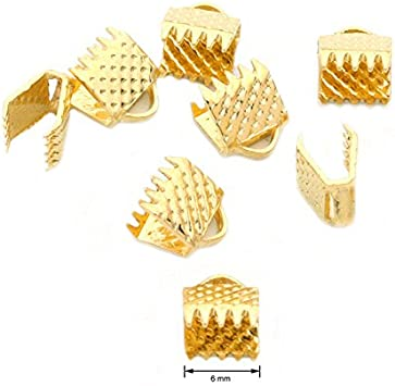 Bronze End Clasps 200pcs 6mm Fastener Flat Leather Cord Metal End Caps Connectors for Diy Jewelry Making
