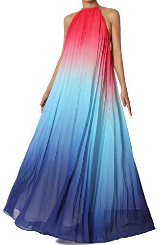TheMogan Junior's Ombre Halter Open Back Full A-Line Pleated Gown Maxi Dress Blue L