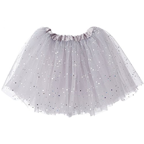 My Lello Big Girls Sparkle Tutu 3-Layer Ballerina (4T-8yr) Silver ()