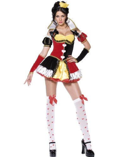 Smiffy's Women's Fever Queen of Hearts Costume, Dress, Corset, Collar, Gloves, Sleeves and Headband, Once Upon a Time, Fever, Size 10-12, 36173