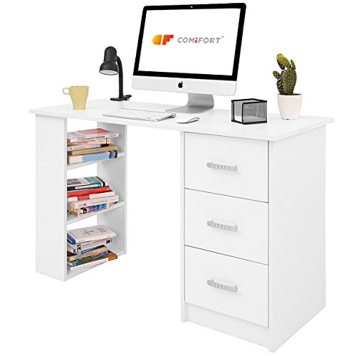 COMIFORT Mesa de Trabajo – Escritorio Robusto y Espacioso, Estilo Moderno y Minimalista, con Gran Capacidad de Almacenaje, 3 Baldas y 3 Cajones, Color Blanco