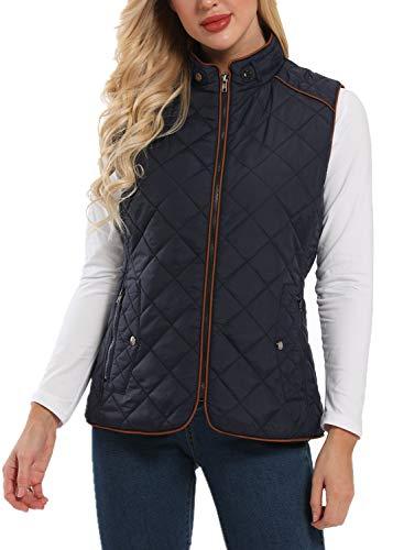Wudodo Damesvest met opstaande kraag vest jas ritssluiting gewatteerd vest winter warm ultralicht