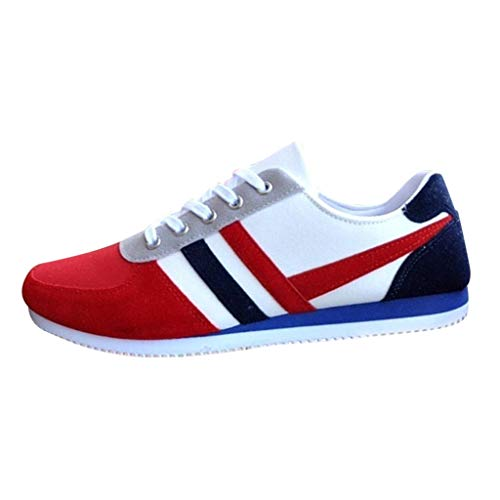 - TIFENNY Fashion Student Sport Shoe Men Lace Up Loafers Casual Sneakers Color Block Soft Bottom Flat Canvas Shoes Red