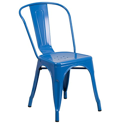 Economical Stacking Chairs - Flash Furniture Blue Metal Indoor-Outdoor Stackable Chair