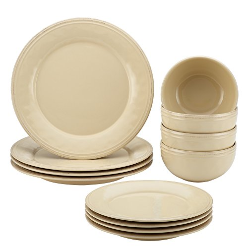 Rachael Ray Cucina 12 Piece Dinnerware Set, Stoneware Almond Cream (Rustic Stoneware Dinnerware Sets)
