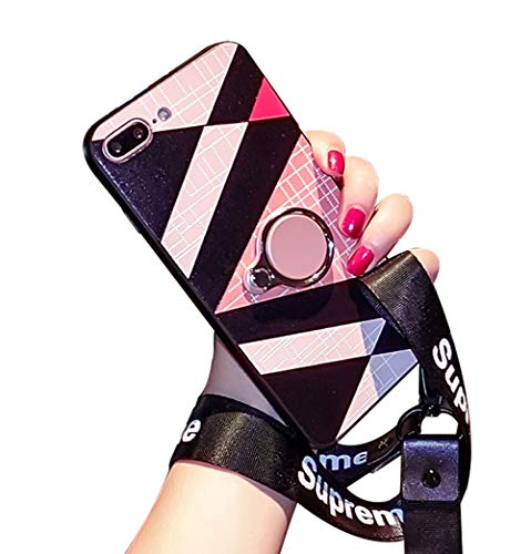 (BONTOUJOUR iPhone 7 Plus/iPhone 8 Plus Case, Fashion Luxury Geometry Phone Case for Girls, Soft TPU Case with Back Phone Ring Holder and Wristband,Compatible with Magnetic Car Mount- Geometry 4)