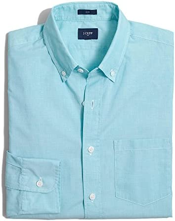 長袖シャツ Slim Washed Shirt in End on End アクア Frosted Aqua [並行輸入品]