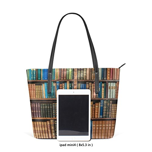 Bennigiry Satchel School Library Bookcase Purse Top Bags Bookshelf Tote Shoulder Handle Women's Handbags Large gxrq0wUtgn