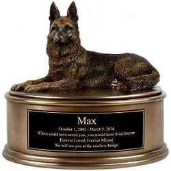 Perfect Memorials Custom Engraved German Shepherd Figurine Cremation Urn