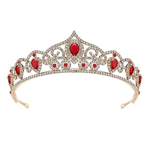 SWEETV Rhineshtone Wedding Tiara for Women - Princess Tiara Headband Bridal Crown, Bridal Hair Accessories for Women and Girls, Red