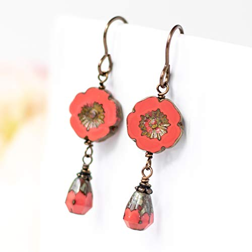 Coral Red Glass Bead Flower Earrings
