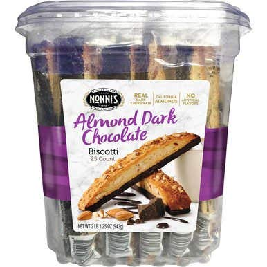 Nonnis Almond Dark Chocolate 25ct Biscotti With Real Almonds
