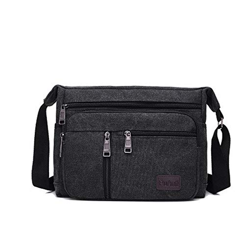 Mens Laptop Bags Book Bag, Canvas Shoulder Bags,Laptop Bags for Work and School, Women Cross-Body Bags (Black,Small size 270x210x110mm)