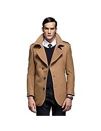 Liveinu Men's Slim Fit Busniess Wool Blend Pea Coat