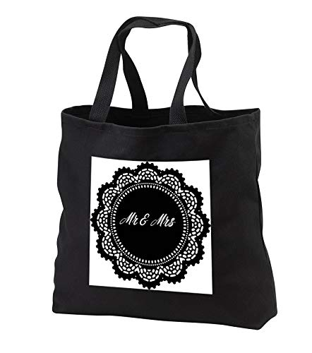 (Made in the Highlands - Vector- Mr and Mrs - Doily with Mr and Mrs - Tote Bags - Black Tote Bag JUMBO 20w x 15h x 5d (tb_300726_3))