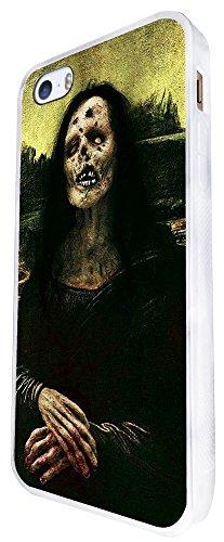 703 - Funny Zombies Zombie Mona Lisa Design iphone SE - 2016 Coque Fashion Trend Case Coque Protection Cover plastique et métal - Blanc