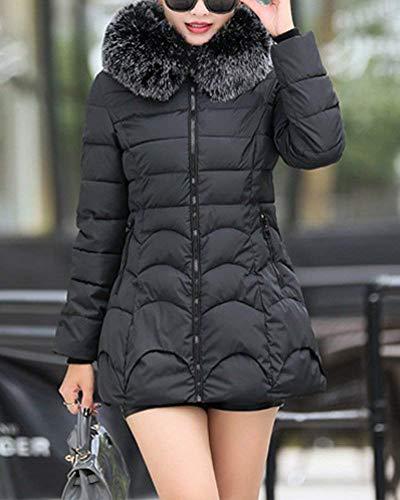 Moda Di Manica Invernali Monocromo Piumino Con Mantello Donna Lunga Elegante Classiche Cerniera Calda Schwarz Tasche Giacca Donne Trapuntata Cappuccio Coat Laterali avTxSX