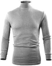 Turtleneck Men Pullover Sweaters, Long Sleeve Mock Turtleneck Shirt for Men, Black White Navy Blue Grey Yellow Brown